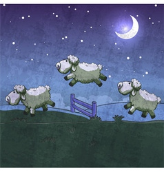 Three sheep jumping over the fence vector image vector image