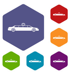 wedding car decoration icons set vector image vector image