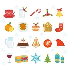 Christmas icons set Set of traditional christmas vector image