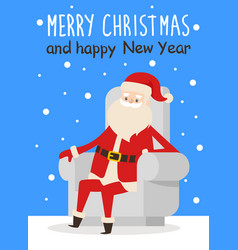 merry christmas happy new year poster santa snow vector image vector image