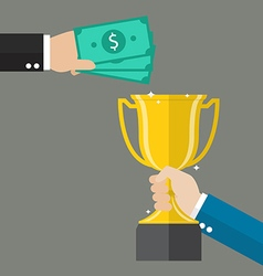 Money for a winning trophy vector