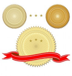 set of seals with ribbon vector image vector image