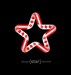 star with Canadian flag colors and symbols design vector image