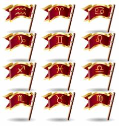 zodiac astrology symbol flags vector image vector image