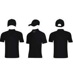 black polo t shirt and baseball cap vector image vector image