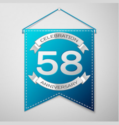 blue pennant with inscription fifty eight years vector image vector image