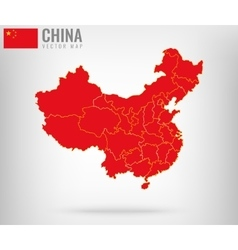 China Map with golden borders vector image