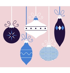 Colorful retro Christmas balls blue collection vector image