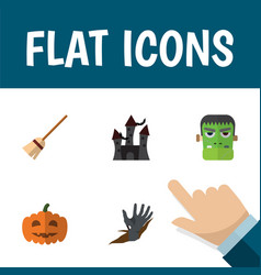flat icon celebrate set of gourd monster zombie vector image vector image
