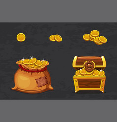 open old bag and wooden chest ancient pirate vector image
