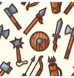 Seamless pattern with medieval weapons icons vector image
