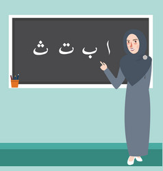 teacher female standing in front of class explain vector image