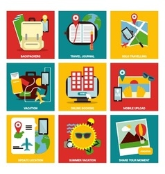Travelling nine flat items concept vector image