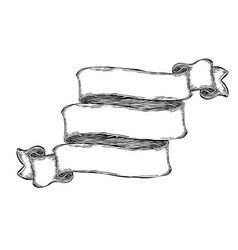 vintage hand-drawn blank banner ribbon template vector image