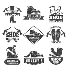 vintage monochrome labels and logos for shoe vector image