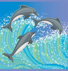 a group of dolphins vector image vector image
