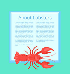 about lobsters on azure color vector image