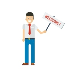 businessman holding welcome sign in hand vector image