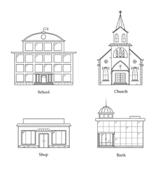 Linear Buildings Set vector image
