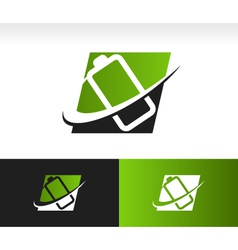 Swoosh Battery Logo Icon vector image vector image