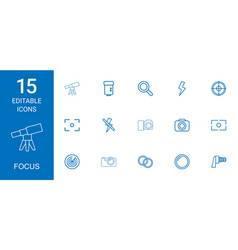 15 focus icons vector image