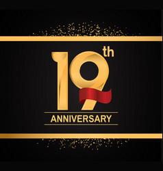 19 years anniversary logotype with premium gold vector