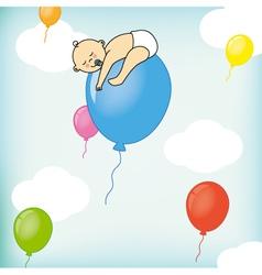 A child sleeps on a balloon vector