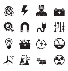 Basic electricity icons set vector