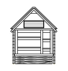 Beach wooden kiosk building house in black and vector