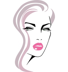 beautiful girl face pink lips vector image
