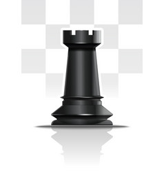 Black chess figure rook realistic icon vector