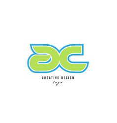 Blue green alphabet letter ac a c logo icon design vector
