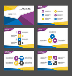 Blue purple yellow presentation templates layout vector image