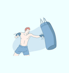 boxing sports training sportsman with boxing bag vector image