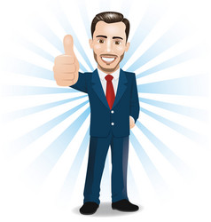 businessman showing thumbs up sign vector image