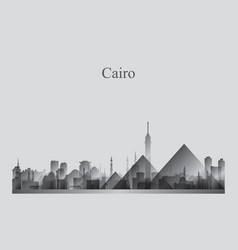 Cairo city skyline silhouette in a grayscale vector
