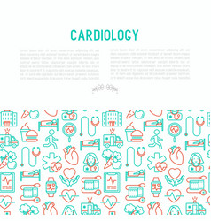 cardiology concept with thin line icons vector image