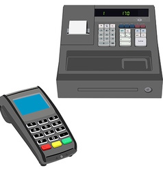 Cash register and pos terminal vector image