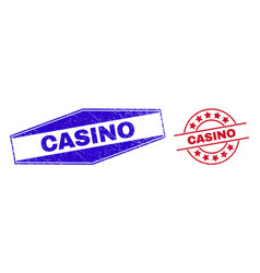 Casino unclean stamps in circle and hexagonal vector