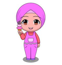 Chibi muslim female cartoon characters happy vector