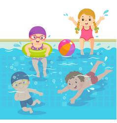 children swimming in pool vector image