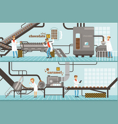 Chocolate and caramel factory production process vector
