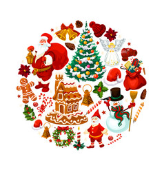 christmas decorations santa gifts poster vector image