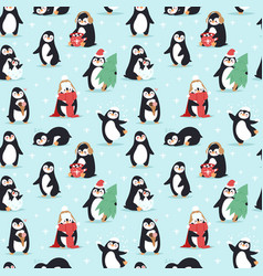Christmas penguins seamless pattern vector