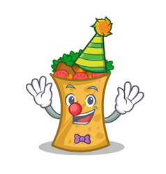 Clown kebab wrap character cartoon vector