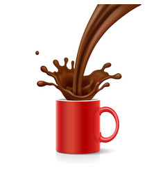 Coffee is splashing in red mug vector