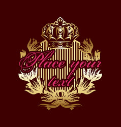 color with golden wreath and crown vector image