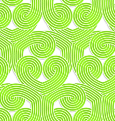 Colored 3d green striped swirls vector