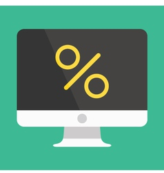 Computer display and percent sign icon vector