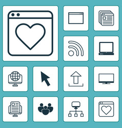 Connection icons set with transfer desktop vector